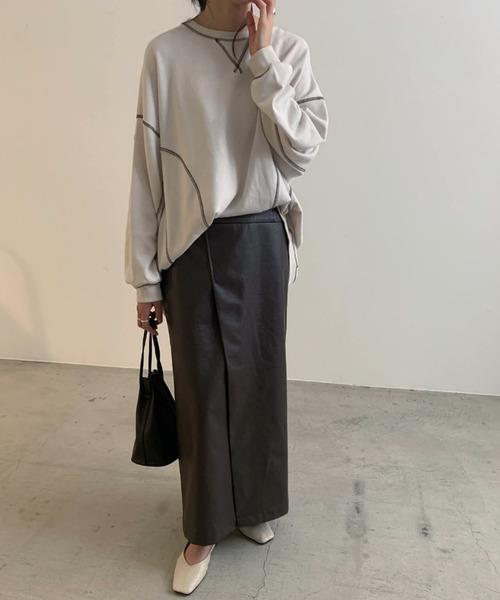 [Re:EDIT] [近藤千尋さん着用][低身長向けSサイズ対応]ヴィーガンレザーラップ風タイトスカート