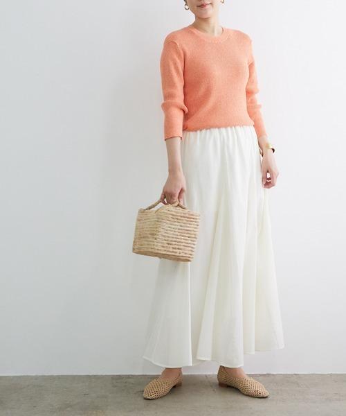 レディースニット×コットンフレア白スカート