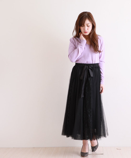 Sawa a la mode ウエストリボンのフェミニンなチュールレーススカート