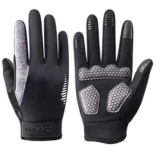 RIVBOS(リバッズ) CHG201 防寒サイクリンググローブ 冬用手袋 タッチパネル対応 滑り止めサイクルグローブ 3D立体 自転車グローブ 衝撃吸収パット 耐磨耗性 換気性 メンズ レディース ジュニア 男女兼用