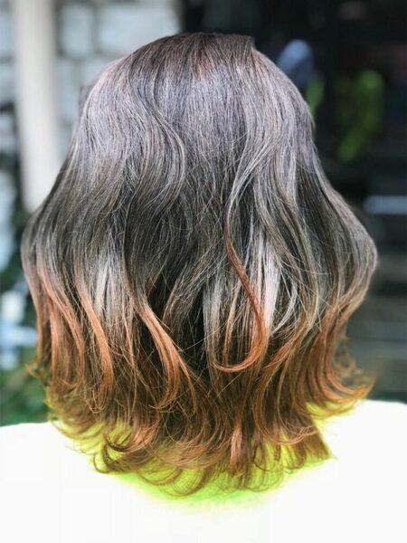 オレンジブラウンヘアカラー グラデーション