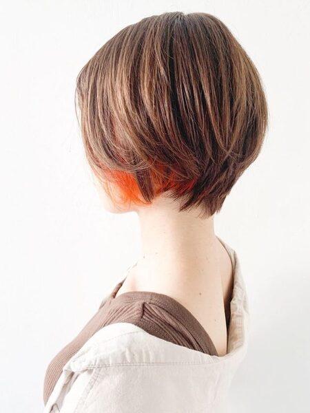 オレンジブラウンヘアカラー インナーカラー
