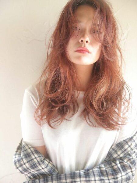 オレンジブラウンヘアカラー ダブルカラー2