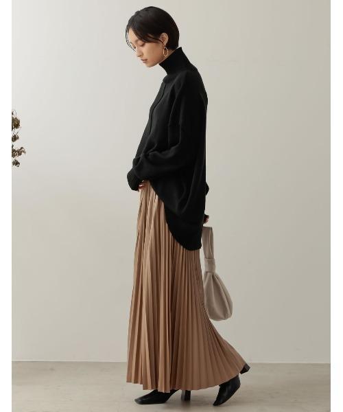 [低身長向け/高身長向けサイズ対応]ヴィーガンレザープリーツロングスカート