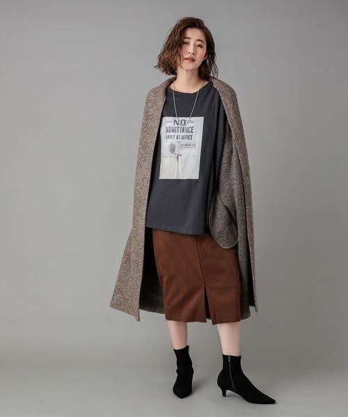 [RIVE DROITE] 脚長効果のある美シルエット エコスウェードZIPスカート (ひざ丈)