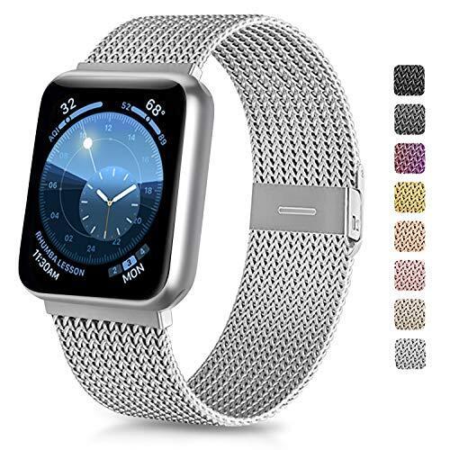 Vancle コンパチブル Apple Watch バンド 38mm 40mm 42mm 44mm ミラネーゼループ アップルウォッチバンド コンパチブル Apple Watch Series 5/4/3/2/1に対応 ステンレス留め金 (38mm/40mm, シルバー)