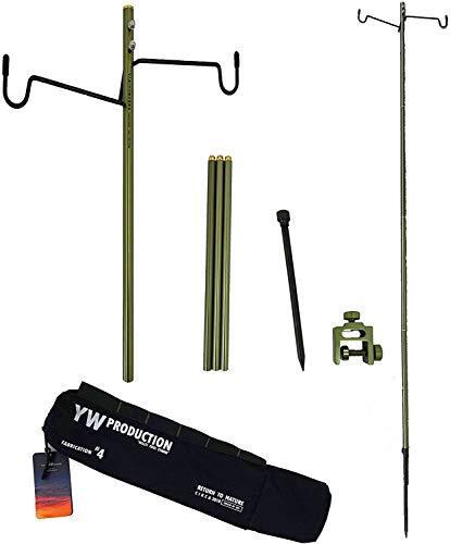 YAEI WORKERS (ヤエイワーカーズ) ランタンスタンド ランタンポール 高強度アルミ製 コンパクト 軽量 折りたたみ式 ランタンハンガー2個付 クランプ式 打ち込む式両用