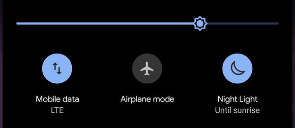 「夜間モード」設定画面