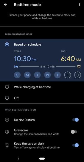 時計アプリ「おやすみ時間」設定画面