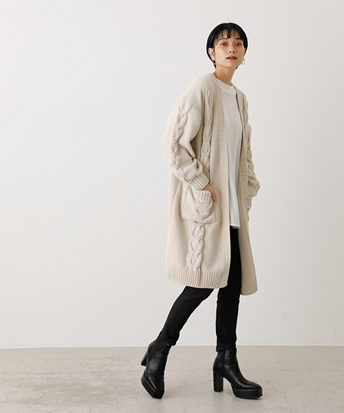 [AZUL BY MOUSSY] CHENILLE CABLE KNIT CARDIGAN/シェニールケーブルニットカーディガン