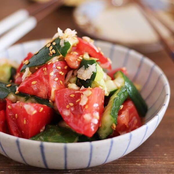 さっぱり!叩ききゅうりとトマトの塩ナムル