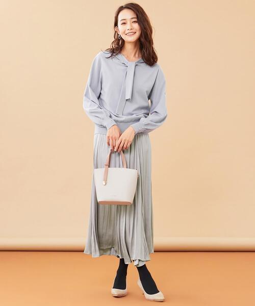 [S size ONWARD(小さいサイズ)] 【美人百花12月号掲載】ボウタイニット×サテンスカート セットアップ