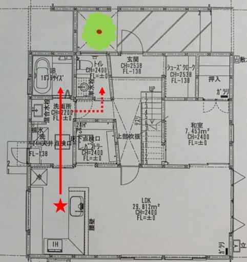 キッチンから浴室までの図面