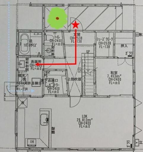玄関から脱衣室までの図面