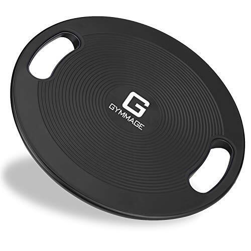 GYMMAGE バランスボード 体幹トレーニング 滑り止め ケガ防止 ブラック 40cm