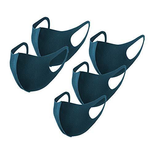 [Amazon限定ブランド]マスク ウレタンマスク 5枚入 洗える 3Dマスク 個包装 通気性 小顔 花粉 紫外線対策 小さめ 子供用 13色 FENQ ネイビー