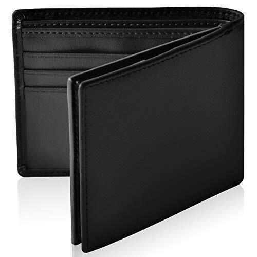 [Le sourire] スリム 二つ折り 財布 本革 二つ折り財布 ボックス型 小銭入れ メンズ ルスリール ブラック