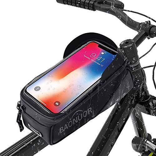 【2020最新型】自転車バッグ 自転車トップチューブバッグ 防水フレームバッグ 大容量サドルバッグ 6.5インチスマホ対応 多機能 日除け ヘッドホン穴あり レインカバー付き 取り付け簡単 収納便利 夜間安全 ロードバイク/マウンテンバイク/クロスバイク適用