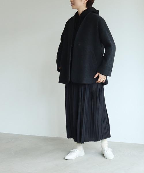 [bulle de savon] カシミヤ混/ボア ショールカラージャケット