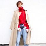 赤タートルネックの冬コーデ【2021】おしゃれ上級者な大人女性の着こなし♪