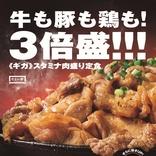 """""""ギガ盛り""""で大満足!! やよい軒「スタミナ肉盛り定食」は牛×豚×鶏の夢コラボ♪"""