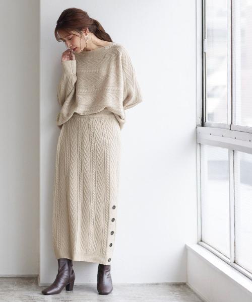 ケーブル編みスカートセットアップ