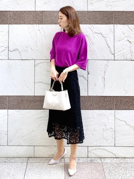 紫ニット×ユニクロレーススカート