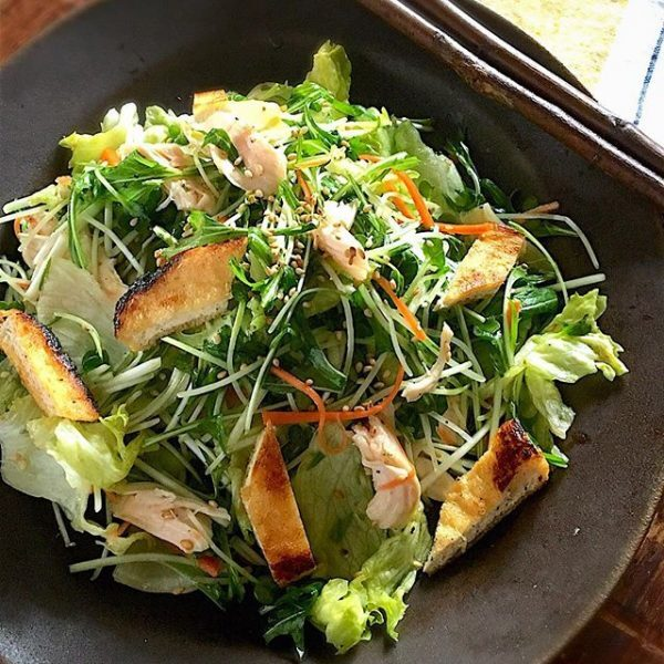 食感が楽しい!お揚げとささみの和サラダ