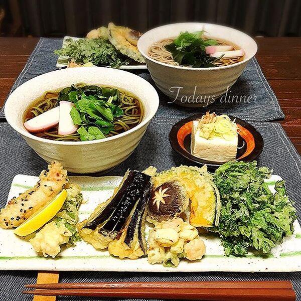 栄養満点のおすすめレシピ!天ぷらの茶そば定食