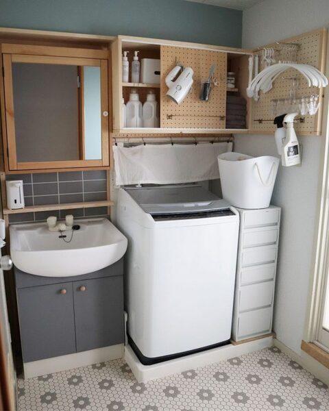 洗濯機の上の棚DIYアイデア7