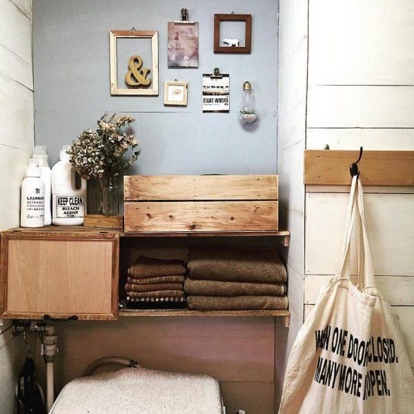 洗濯機の上の棚DIYアイデア8