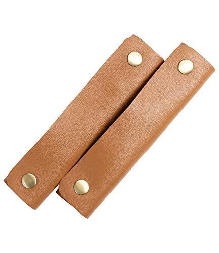 [ラフィカロ] バッグ 持ち手カバー 本革 負担を軽減 ハンドルカバー 柔らかい グリップ トートバッグ とって レザー 羊革 フリーサイズ 長さ 13cm ワイドタイプ メンズ レディース 2個セット ブラウン