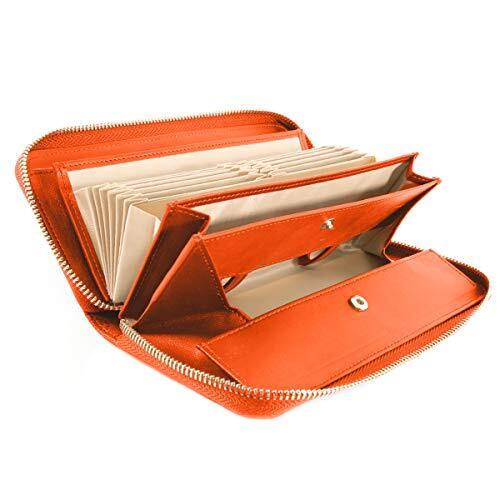 [ラフィカロ] 財布 レディース ギャルソンタイプ コインスルー 長財布 レザー 牛革 小銭とレシート 仕分け 大容量 じゃばらカード入れ ラウンドファスナー ガバっと開く小銭入れ ロングウォレット オレンジ