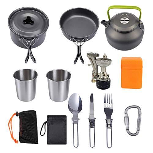 iplusmile キャンプ用食器 キャンプクッカー アウトドア 調理セット 登山用鍋 キャンピング鍋 キャンプ用品 収納袋付き 1-2人