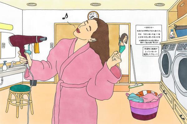脱衣場でゆっくりと髪を乾かすBさん