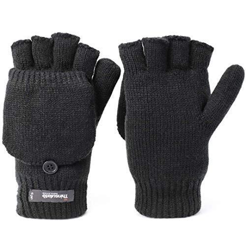 [Flammi(フレミ)] メンズニット手袋 2WAY半指グローブ 指なし コンバーチブル ニットグローブ 暖かい 防風性と防寒性 ミトン 秋冬用グローブ (ブラック)