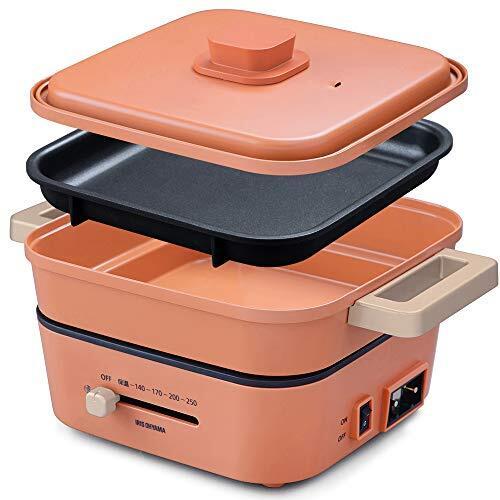 アイリスオーヤマ ホットプレート グリル鍋 2枚プレートセラミックコート鍋 平面プレート IGU-P2-D オレンジ