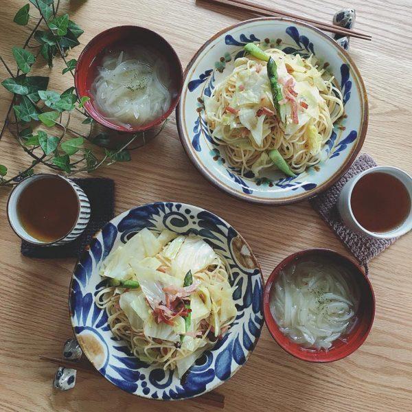 春野菜レシピ☆キャベツとアスパラのパスタ