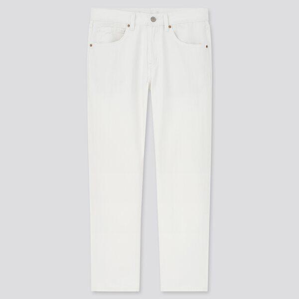 白のアンクル丈テーパードデニムパンツ