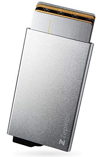 [zepirion] クレジットカードケース スキミング防止 磁気防止 スライド式 スリム 薄型 アルミニウム メンズ レディース シルバー
