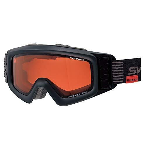 SWANS(スワンズ) スキー スノーボード ゴーグル くもり止め ファン付き ターボゴーグル 紫外線で色が変わる調光 偏光レンズ HELICPDTBS HELI-C/PDTBS-N_MBK マットブラック/偏光トライアンバー調光