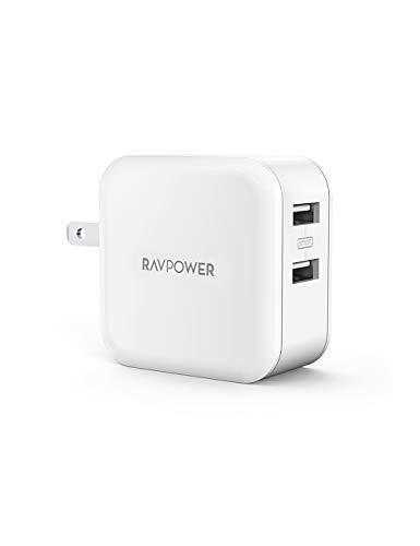 RAVPower USB 充電器 2ポート 24W 【最大出力5V,4.8A/急速/折畳式プラグ】 iPhone/iPad/Android 等のUSB機器対応 RP-UC11 (1Pack, ホワイト)