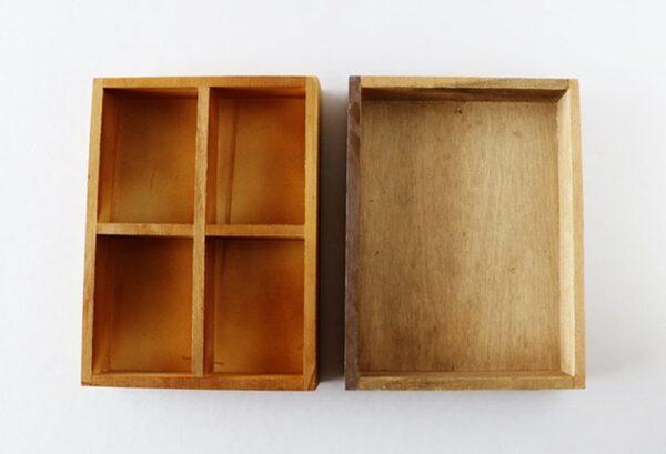 セリア「木製仕切りトレイ4マス」4