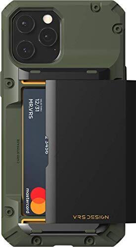【VRS】 iPhone12Pro Max 対応 ケース カード 収納 3枚 耐衝撃 携帯ケース 衝撃 吸収 ハイブリッド ハード カバー 背面 スライド 式 カードケース 付き タフ スマホケース [ iPhone 12 Pro Max アイフォン12 Pro Max アイフォン12プロマックス 対応 ] Damda Glide Pro グリーンロゴ