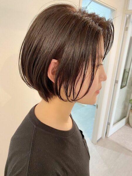 グラデーションカット×前髪なしショートボブ