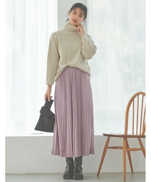 フェイクスウェードプリーツロングスカート