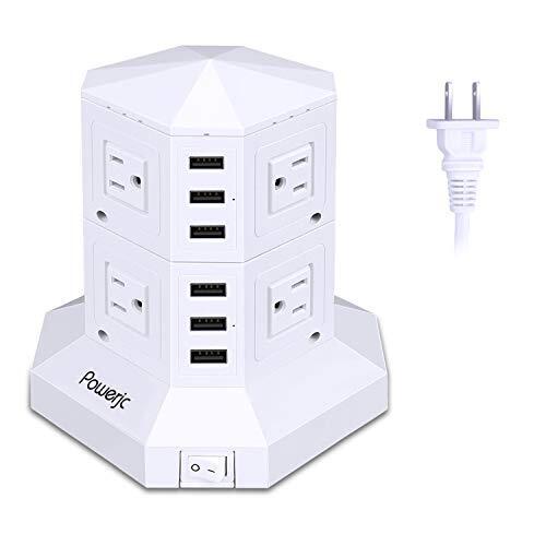 電源タップ 縦型コンセント タワー式 オフィス・会議用 USB急速充電 3m スイッチ付 2層 白-Powerjc