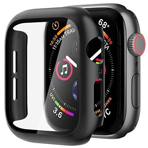 Nimaso WatchケースAppleアップルウォッチ Series 6 / SE/Series 5 / Series 4 40mm用 【フルカバー】PC素材強化ガラス(ブラック)