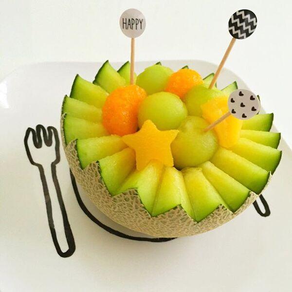 他のフルーツも乗せた簡単メロンボール