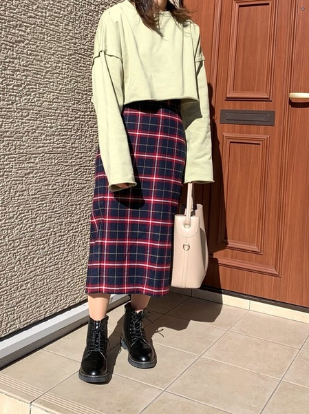 GUチェックタイトスカート